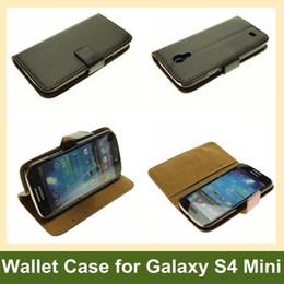 Wholesale Fashion Genuine Leather Wallet Case for Galaxy S4 Mini i9190 Flip Case for Samsung Galaxy S4 Mini i9190 10pcs lot Free Ship