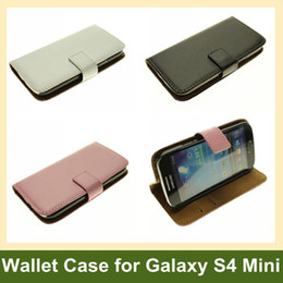 Wholesale 100pcs X Genuine Leather Wallet Case for Galaxy S4 Mini i9190 Flip Case for Samsung Galaxy S4 Mini i9190 DHL EMS Free Ship