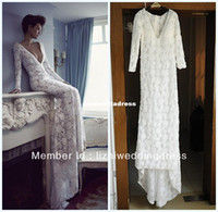 Model Pictures V-Neck Zipper 2013 New Design Sexy Long Sleeves Deep V Neck Court Train Real Sample Open Back Beaded Lace Mermaid Wedding Dresses B1609