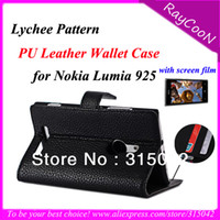 Wholesale New Arrivall for Nokia Lumia Lychee PU Leather folio business case mobile phone leather stand cover gift screen film