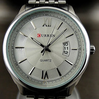 Men's analog suit - CURREN Luxury Stainless Steel Watchband Men Suit Business Watch Piece Dropshiping