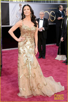 Trumpet/Mermaid academy award photo - Catherine Zeta Oscars Red Carpet Gold Tulle Mermaid Sequins Beaded Celebrity Dresses