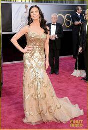 Wholesale Catherine Zeta Oscars Red Carpet Gold Tulle Mermaid Sequins Beaded Celebrity Dresses