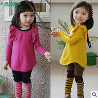 Girl Spring / Autumn Long Korean children's clothing wholesale autumn girls fly sleeve cotton shirt + Leggings Set