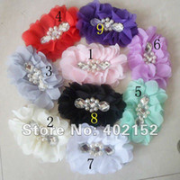 Wholesale improved sewn pearl amp diamond inch stunning silky tulle Victoria chiffon hair flower Accessories