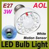 3W LED Human Infrared Sensor Light E27 340LM LED Energy Saving AC 85-265V LED Spotlight Bulb LED Motion Sensor Lighting Lamp White light