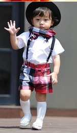 Wholesale 2013 Hot New Children s Outfits Summer baby clothing suits Boys bow short sleeved shirt Plaid strap shorts kids suit