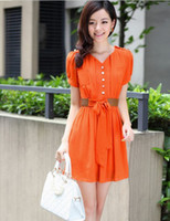 Wholesale European and American style Leisure fashion dress Short sleeve v neck design chiffon dress