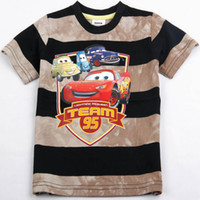 Wholesale Nova Kid Summer Wear m y Children boy mcqueen striped cartoon cars shirts cotton short sleeved t shirt brand new