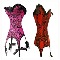 Wholesale plus size steel boned corset sexy costumes wedding dress lace gothic corsets and bustiers sexy lingerie tops for women red purple