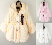 Wholesale Baby girls winter fur coat overcoats kids jackets princess warm fleece outfit coats tops white pink yellow