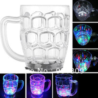 Wholesale 350ml LED Light up Flashing Rocks Glass Drink Ware Drink Beer Mug Cup Container LED Light Beer Cup with LED