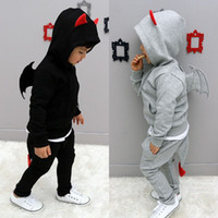 baby devil suit - 2013 Autumn children baby clothing small devil wing Korean pure cotton boys casual sets kids suit size set QS463
