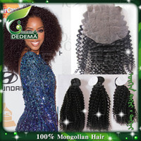 Wholesale closure with bundles mongolian kinky curly virgin hair curly hair extension with pc lace top closure X4