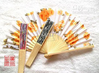 Wholesale Water painting fan wooden folding fan gift hand fan wedding gift fan bridal fan