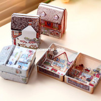 Stone colored full housing - Min order is mix order Cute candy box mini full colored drawing small house storage tin