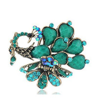 Wholesale Stock FreeShipping Vintage peacock big Hairpaw Alloy Rhinestones Hair Jewelry Bronze hair accessories jewelry factory wholesales hot selling
