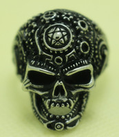 Wholesale 2013 New Arrival L Stainless Steel Cool Alien Vimpire Skull Ring Guarantee