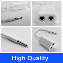 100pcs lot white 3.5MM Extension Earphone Headphone Audio Splitter Cable Adapter Male to 2 Female
