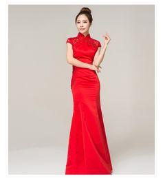 Wholesale Fishtail wedding dress toast clothing long paragraph improved cheongsam cheongsam red bride wedding summer