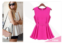 Wholesale Summmer Womens Chiffon Round Neck Casual Sleeveless DRESS Tank Top Belt