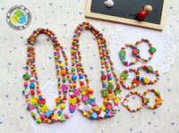 Bohemian Party wood Free shipping 6 style wood beads children necklace and bracelet jewelry sets 20set lot