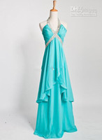 Cheap 2013 Aqua Halter Empire Chiffon Sequins BeadEvening Dress Prom bridemaid Party Formal Dresses Gown