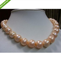 Wholesale 11 mm pink REAL SOUTH SEA BAROQUE PEARL NECKLACE inch k Gold Clasp