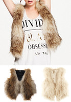 Wholesale Autumn Winter Fashion Faux Fur Tassels Slim Vest Cardigan TOP S M L