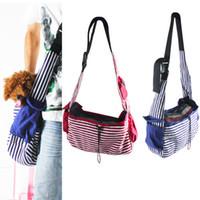 Totes dog carriers - Dog Carrier bags Striped Canvas Sling Bag Pet Carrier For Dog Cat Travel Bag Red Blue
