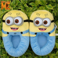Despicable Me Minion Plush Stuffed Slippers Cuddly Fluffy Co...