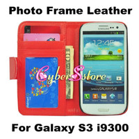 Wholesale Luxury Photo Frame Photoframe Wallet PU Flip leather Case Cover With Credit Card Slots Pouch Stand For Samsung Galaxy SIII S3 i9300