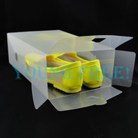 Wholesale 20PCs Clear Transparent Plastic Shoe Boxes for Ladies Clear PP Shoe Storage Boxes Foldable Plastic Package Box cm