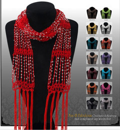 Wholesale Fedex Crocheted Bling Rhinestone Beaded Colorful Knitted Scarf Belt Shawl Wrap