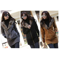 Wholesale New Hot Ladies Leopard Hoodie Top Fleece Women Zip Coat Sweatshirt M L