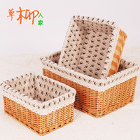 willow Sundries  Rustic rattan storage basket storage box storage basket cosmetics toy desktop coffee table storage box