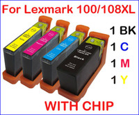 Wholesale 4 ink cartridges with chip for Lexmark XL XL Lexmark Impact S301 S305 Interpret S405 Intuition S505
