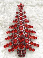 Men's beautiful ruby - C680 C Beautiful Red Crystal Rhinestone Christmas tree Pin Brooch Christmas gifts brosche