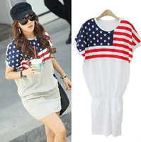 Wholesale New Fashion American Flag Cotton Short Sleeve T Shirts Casual Dress Women Tops