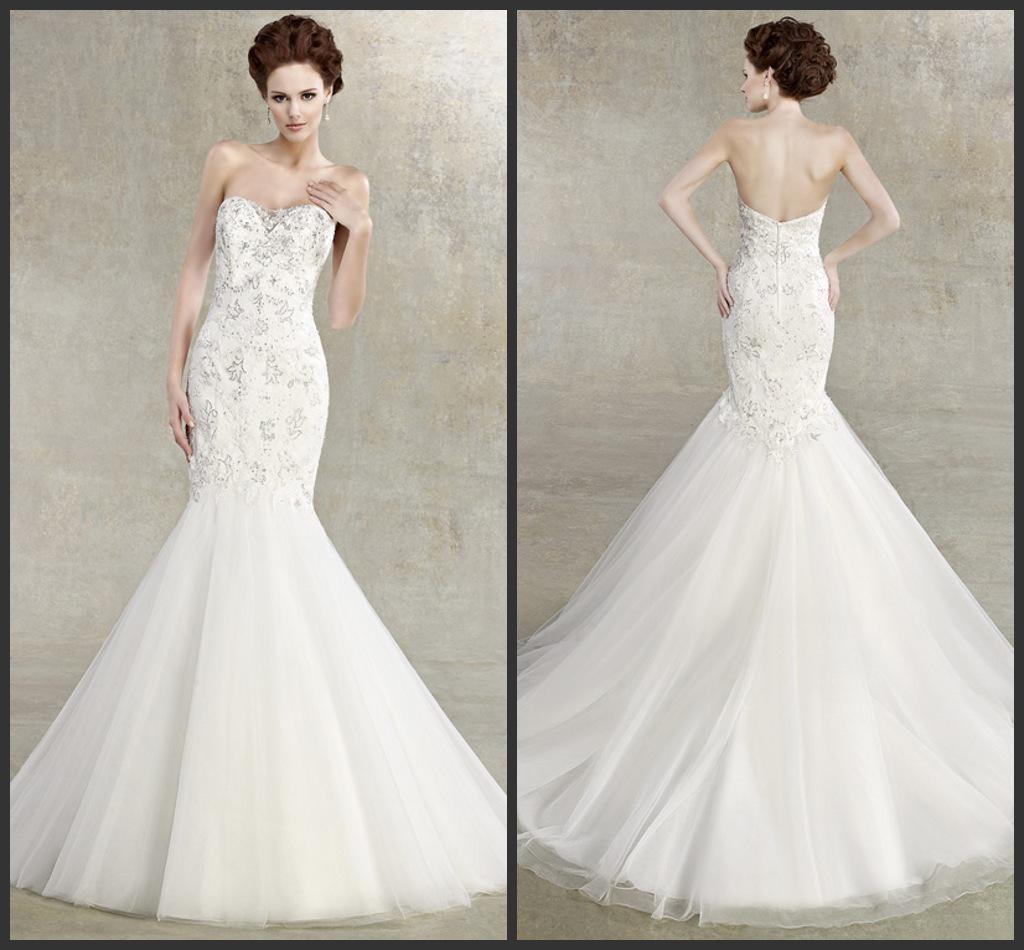 Top Grade Slim Fit Mermaid Stylish Wedding Dress With Deliacte Appliques Pure White Bridal Dress