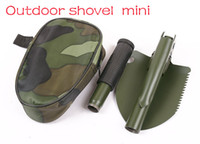 Wholesale Mini Multi function Folding Camping Shovel Survival Trowel Dibble Pick Outdoor tool Dropshipping