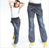 Wholesale Holiday Sale Bloomers Wide Leg s Elastic Waist Woman trousers Jeans
