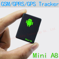 Wholesale Mini Global Real Time GPS Tracker A8 GSM GPRS GPS Tracking Device Track through both PC amp Smartphone APP FOR children pet car