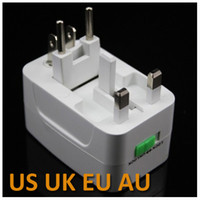 Wholesale Universal Charger Adapter for US UK EU AU V A AC Multifunctional Travel Conversion Plug White amp pouch package Free DHL FeDex