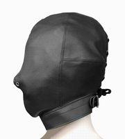 Wholesale High quality leather bondage hood mask fetish face mask cap sex toys sex slave game for adults bondage device