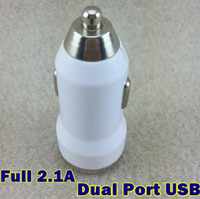 Wholesale Dual USB Port Car Charger Cigarette Full V A Auto Power Adapter for iphone S iphone ipad Samsung tablet pc white black
