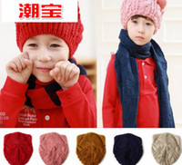 Wholesale Autumn winter children knitted hat new style fried dough twist knitting wool cat ear keep warm baby hats kids caps year QS469