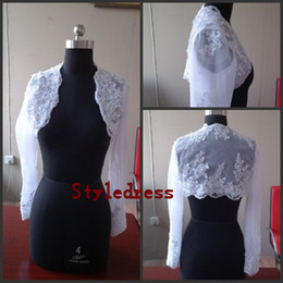 Wholesale Actual Image Real Custom Long Sleeves Lace Bridal Wraps bolero wedding Jacket