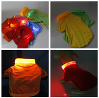 Wholesale Popular Dog Puppy Clothes Pet POLO T Shirts with LED Clothing Size XS S M L color