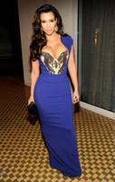 Reference Images Off-the-Shoulder Elastic Satin 2013 Custom Design Kim Kardashian Dresses Sexy Floor-Length Chiffon Royal Blue Celebrity Dresses Evening Dress 12001